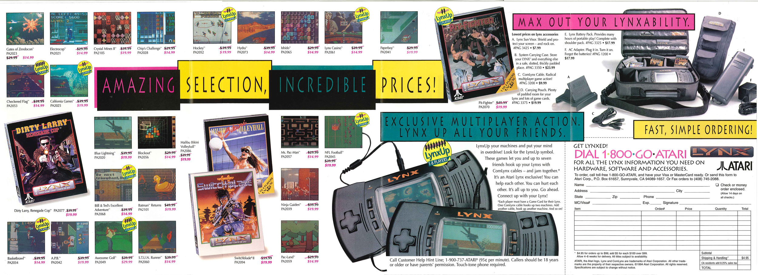 This game preview catalog features Atari Lynx games and