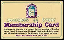 Imagic Numb Thumb Club membership card