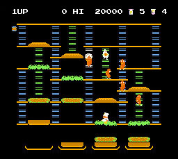 BurgerTime NES screen shot