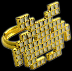 Retro Space Invaders 8-Bit Ring gold