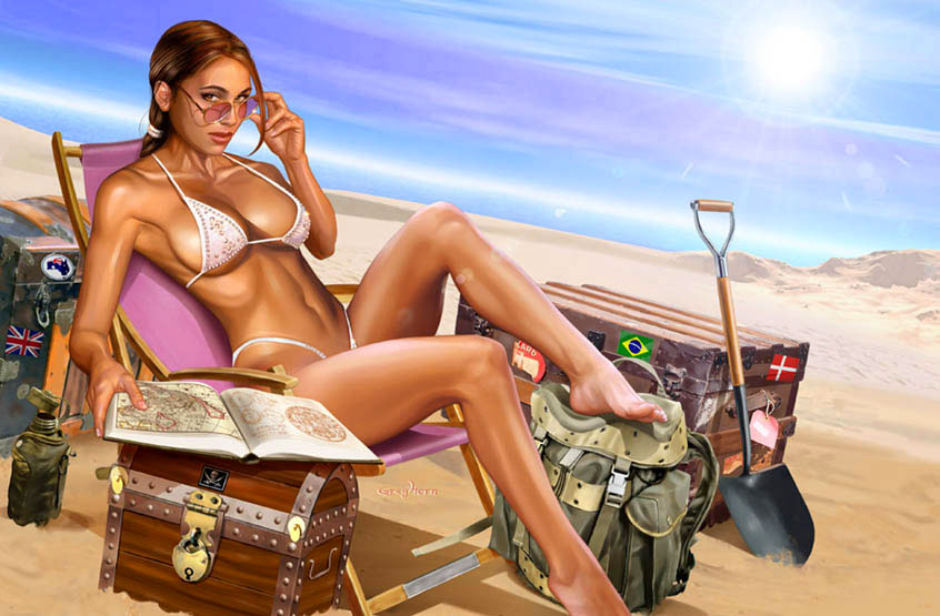 Lara Croft at the beach