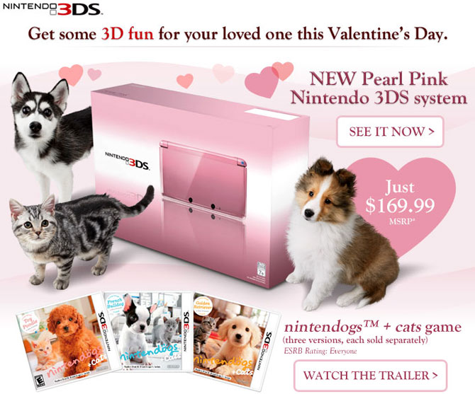 Pink Nintendo 3DS for Valentine's Day