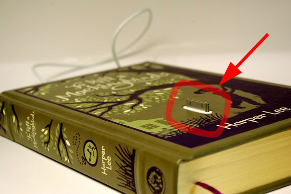 Vintage book with built-in iPhone charger