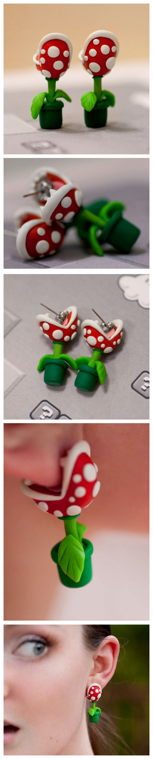 Super Mario Chompie Piranha Plant earrings