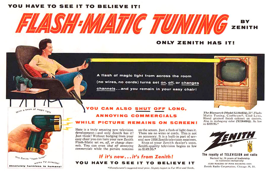 Ad for the Flashmatic wireless TV remote