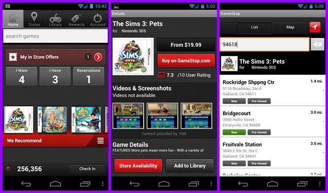 Gamestop mobile app screen shots for Android Smart phones