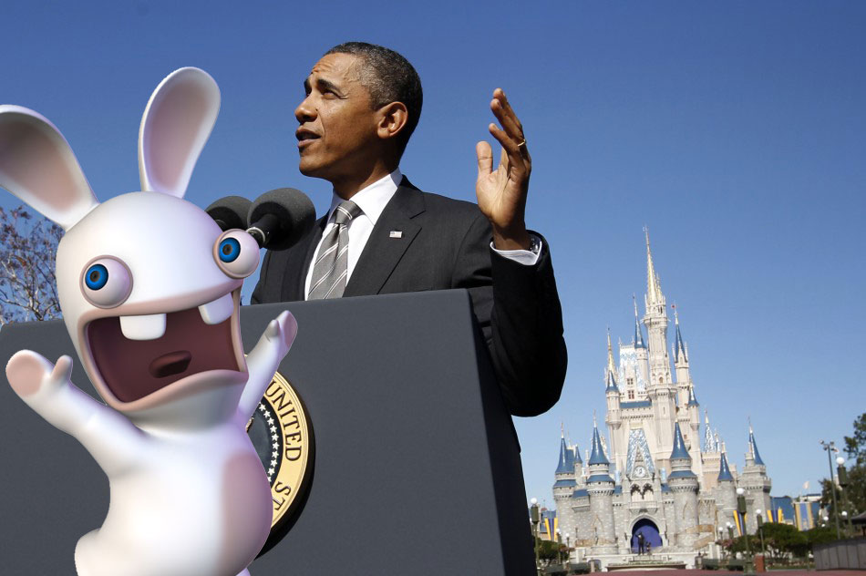 POTUS at Disney - Obama does Mickey Mouse