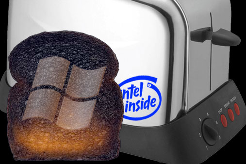 Burnt toast from Microsoft Windows toaster