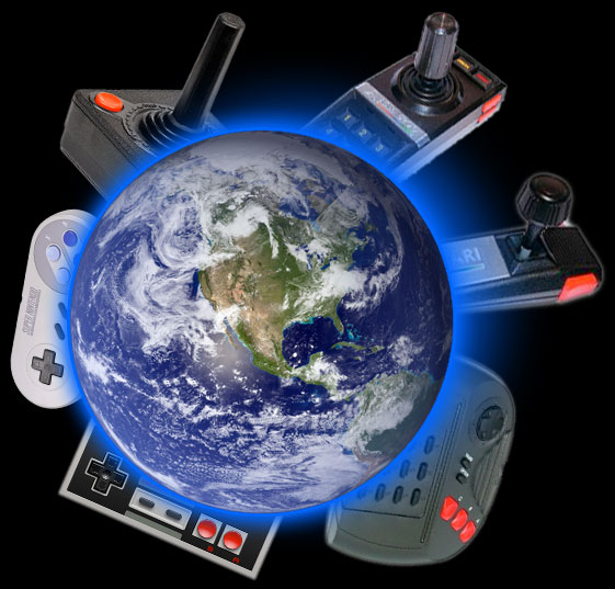 Earth surrounded by game controllers