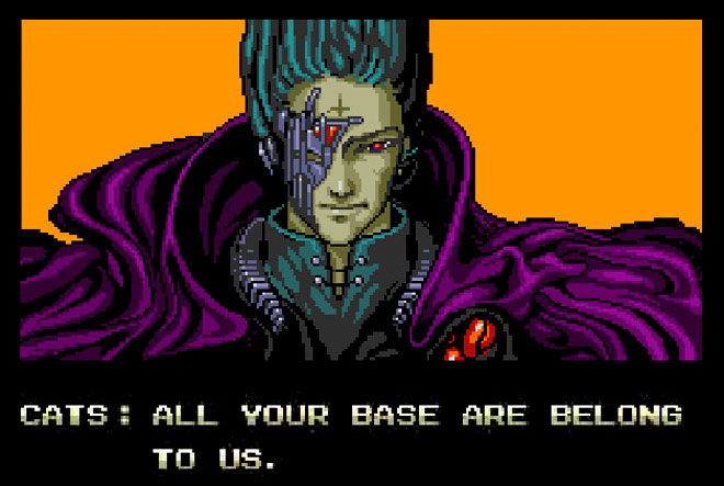 All your base are belong to us screen shot Mega Drive Zero Wing