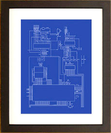 framed retro video game console schematic