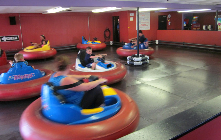 The Holiday Hill bumper cars in action in the Arcade on Cape Cod