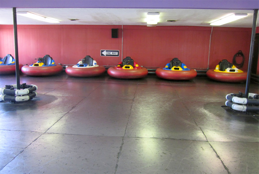 The Holiday Hill bumper cars set up at the front of the Arcade | Cape Cod