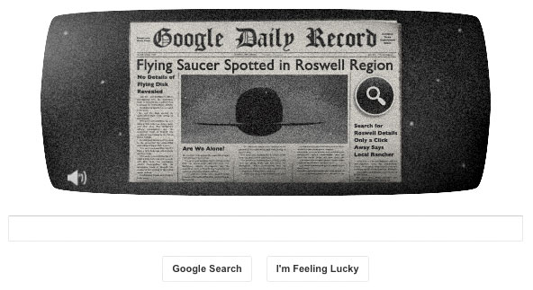 Google celebrates the Roswell Incident's 66th anniversary with an alien UFO doodle game