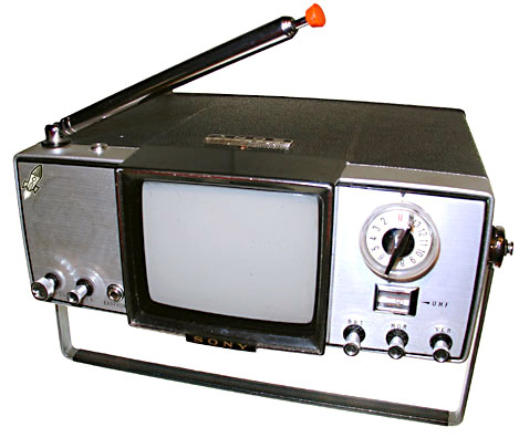 Vintage portable black and white tv