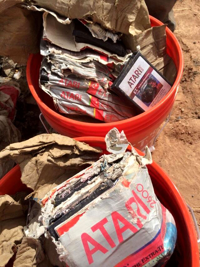 Buckets full of discarded Atari games in the Alamogordo landfill