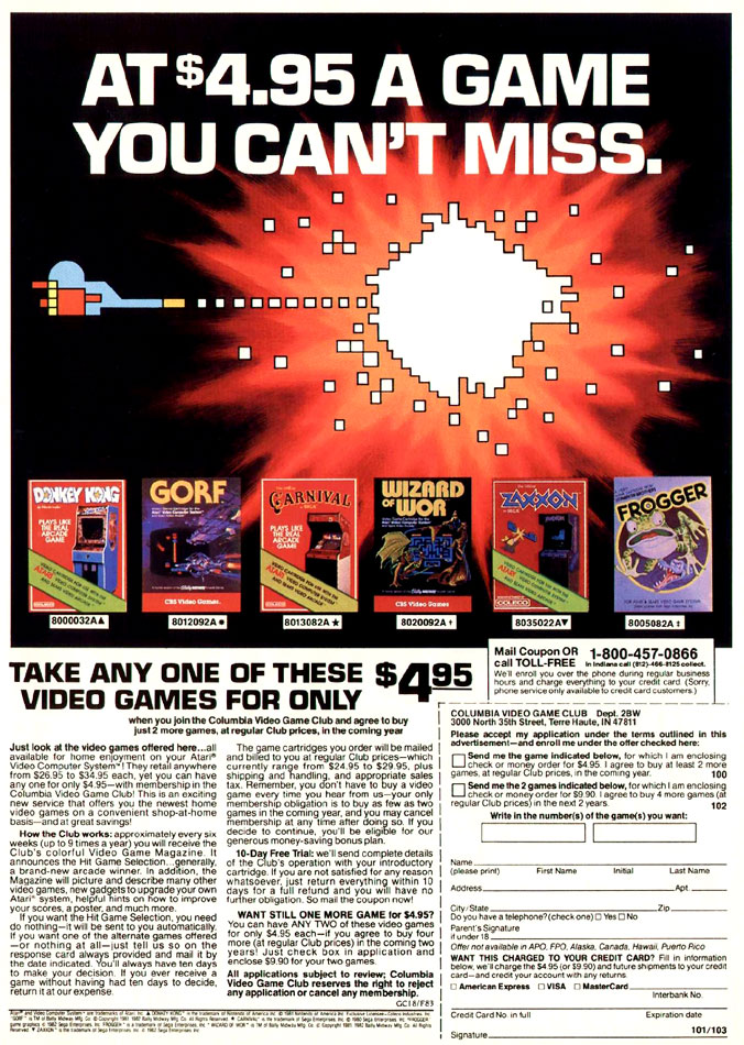 Columbia House Video Game Club Ad