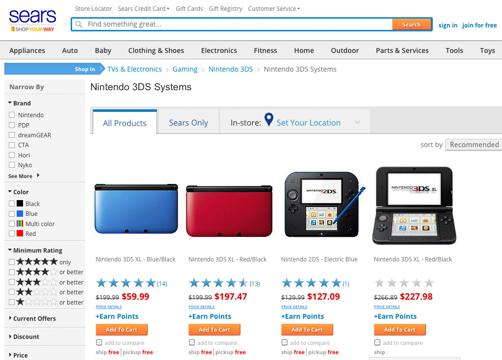Sears discounted 3DS XL