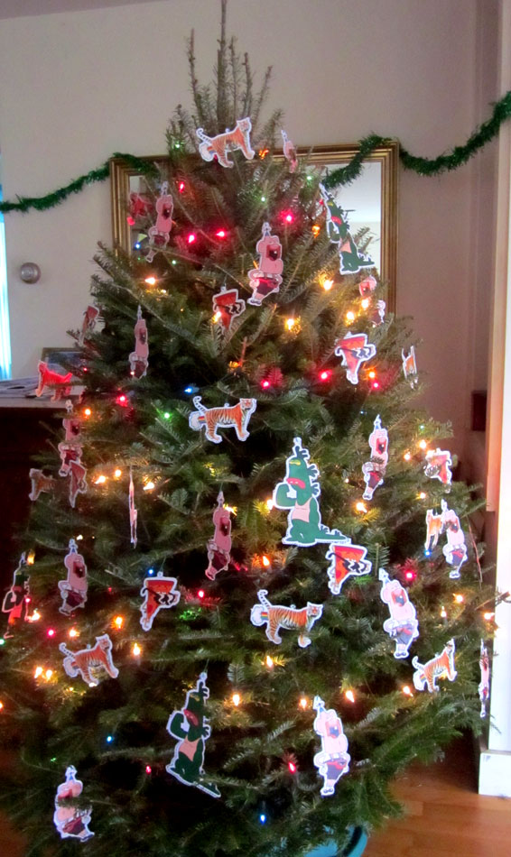 christmas tree with uncle grandpa ornaments - Cut Out Christmas Decorations