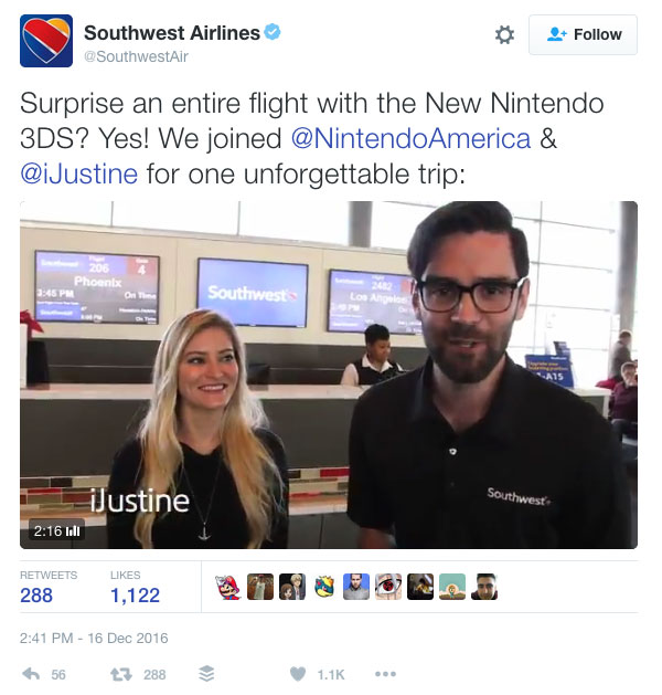 Southwest tweet about free Nintendo 3DS
