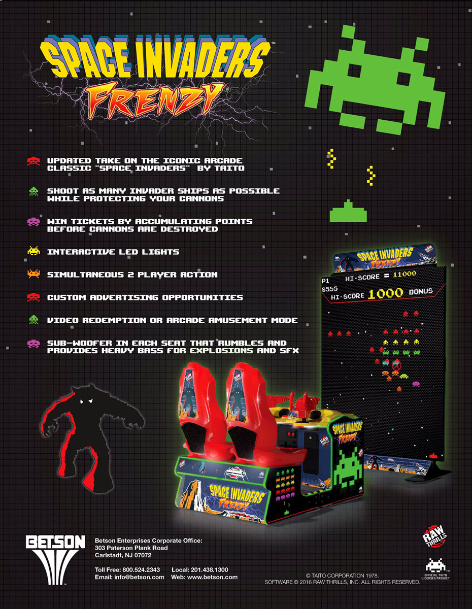 Space Invaders Frenzy arcade flyer