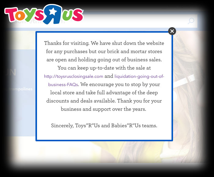 Toys R Us shuts down their e-commerce website