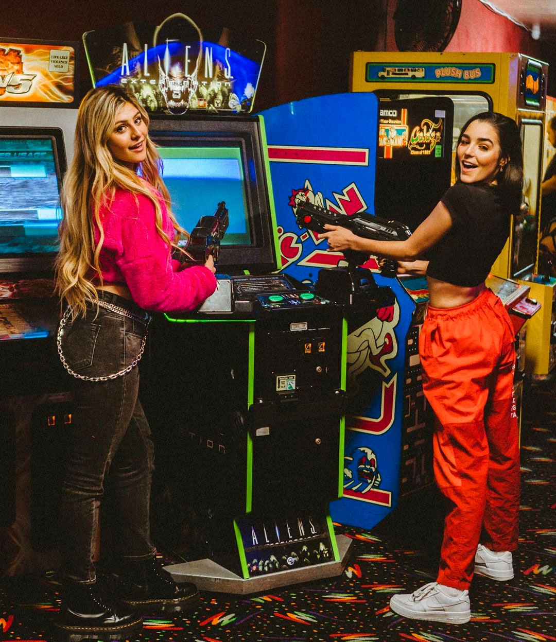 Indiana Massara and Casey Baer at the Moonlight Rollerway's arcade