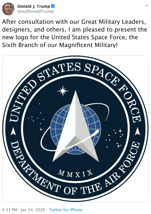 trump's stupid Space Force logo