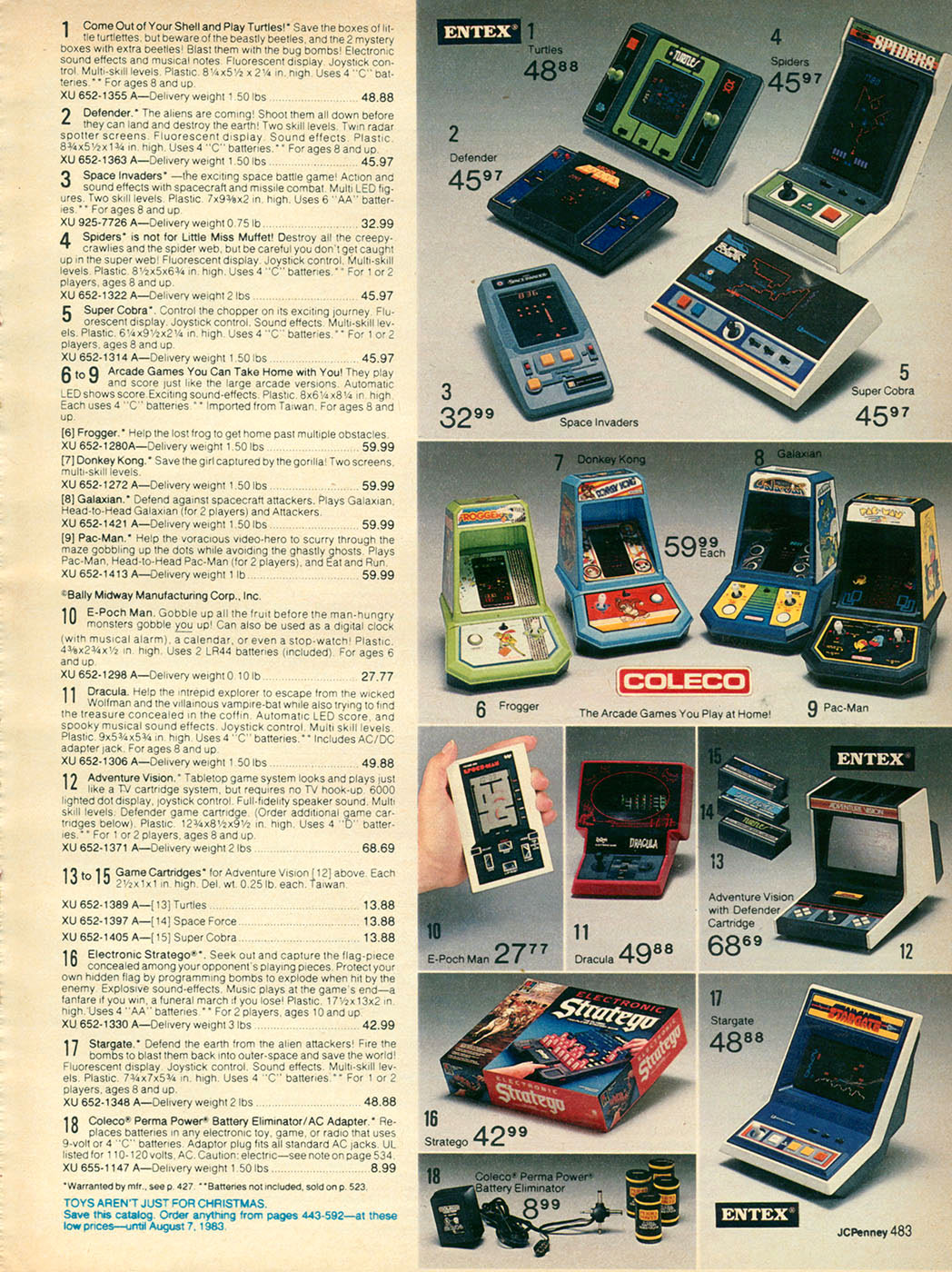 Retro #toys and #videoGames from the JC Penny Christmas Catalog 1982