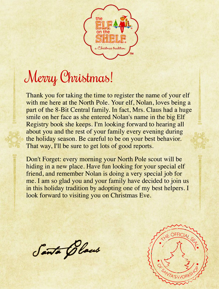Elf On The Shelf Letter From Santa | New Calendar Template Site