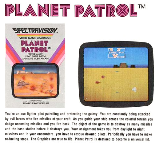 Spectravision's Planet Patrol for Atari 2600 ad
